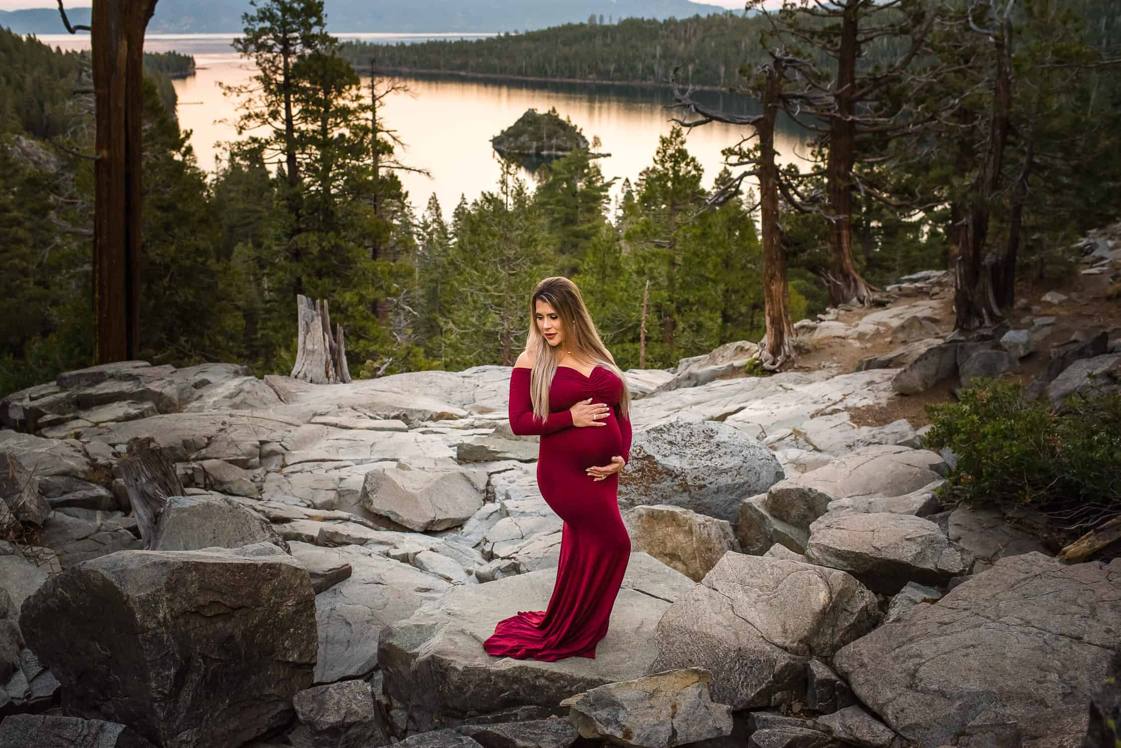 Red Dress Maternity Photo